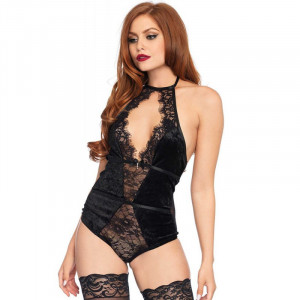 LA Halter Stretch Velvet Teddy