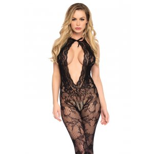 LA Lace keyhole bodystocking with a cut out bottom.