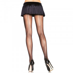 Backseam Sheer Pantyhose Black Plus size