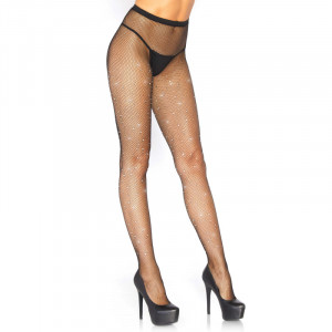 LA Rhinestone Micro Net Tights