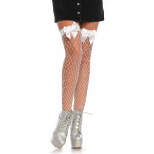 Net Thigh Highs with a Bow Top