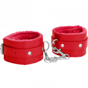 Plush Leather Hand Cuffs - Red