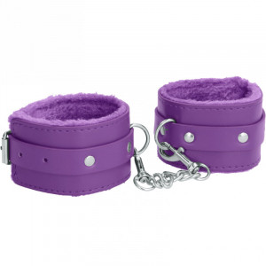Plush Leather Ankle Cuffs - Purple