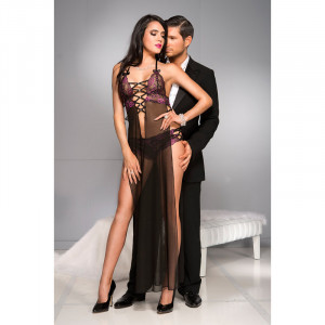 Sheer Gown with Multiple Strap Details and Slits