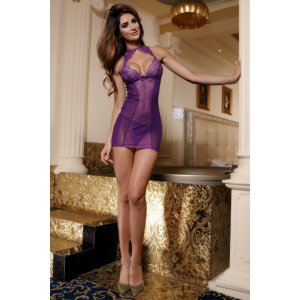 Purple Dress & Thong Lingerie Set
