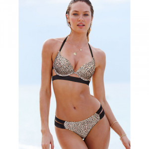 VS The Hottie Halter Bikini Top Little Leopard/Black